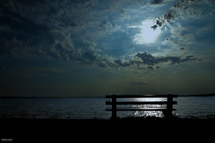 Through The Bench (K.Marinovi - Artist) Tags: blue sunset sea sky color art water beautiful silhouette clouds photoshop wonderful bench landscape photo nice nikon gorgeous croatia silence stunning prints editing karlo lightroom marinovic