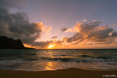 Tunnels Sunset (Mark Griffith) Tags: ocean sunset beach hawaii springbreak kauai tunnels haena tunnelsbeach sonya7rii voigtlanderf4515mmiii bestof2016 bestofapril2016 20160412dsc04140