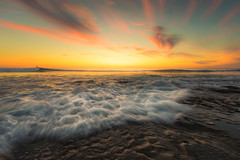 Rush Hour (David Colombo Photography) Tags: ocean california blue sunset red sea orange seascape color yellow clouds landscape coast nikon rocks surf waves pacific sandiego vibrant surfer lajolla surfing pacificocean coastal rushhour reef hightide d800 hospitalsreef davidcolombo davidcolombophotography