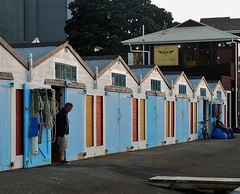Outside Boathouses (mikecogh) Tags: painted row repetition wellington ropes gables sheds boathouses