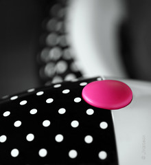 Polka Dots, Bokeh Dots (VenturaMermaid) Tags: pink bw detail macro canon focus dof bokeh unique 100mm depthoffield tokina polkadots button dots hmm f28 selectivecolor abstractreality macromondays beginswiththetheletterp