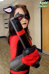 IMG_8494 (Neil Keogh Photography) Tags: pink blue red black female comics mask boots cosplay videogames gloves hero batman cosplayer dccomics jumpsuit nightwing batons gauntlets animatedseries manchesteranimegamingcon2016