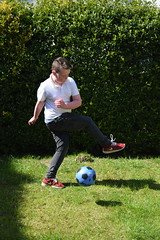 Ten year old Jac football practice (pwllgwyngyll) Tags: old boy liverpool football goal year ten supporter strike welsh practice footy striker jac anfield lfc liverpoolfc at