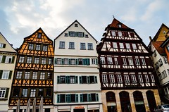 Old and new timbered Houses  after a fire reconstructed (eagle1effi) Tags: old city morning germany early town nikon experiment kitlens 1855mm altstadt tuebingen tbingen deutchland wrttemberg morgengrauen d5100 dibenga gogenstadt