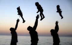 Palestinian family on the beach in Gaza (TeamPalestina) Tags: sunset sky sun sunrise landscape landscapes photo am amazing nice photographer natural sweet live palestine comfort sunrays gaza beautifull palestinian  landscapecaptures
