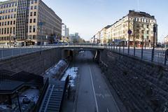 Baana (ri Sa) Tags: street people cars bicycle stairs buildings finland helsinki pedestrian baana
