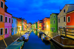 Rainbow (Tedz Duran) Tags: travel blue venice houses urban italy colors architecture night boats island photography lights canal twilight italia colours nightscape bright vivid hour venezia burano coloredhouses tedzduran