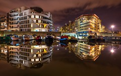 Bristol reflections (technodean2000) Tags: city water night reflections river bristol boats canal nikon apartments centre barge lightroom d610