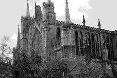 Cathedral (Katrinitsa) Tags: street york city uk greatbritain trees england sky blackandwhite bw white black streets church nature colors architecture canon river landscape lights spring cityscape riverside cathedral unitedkingdom britain religion streetphotography riverboat british yorkminster minster riverview