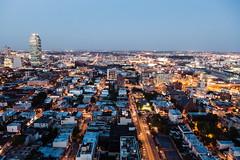 Long Island City (Airicsson) Tags: street city nyc urban ny newyork rooftop night lumix lights longisland bluehour lx7 camillelacroix
