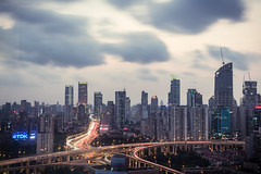 NorthSouth Elevated Road (Florian  v18) Tags: china road city light cloud building skyline canon shanghai      24105mm  5d3
