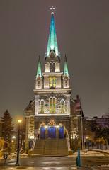 Our Lady of Lourdes (Greg Riekens) Tags: city winter usa cold church minnesota night dark religious downtown catholic religion minneapolis steeple ourladyoflourdes flickrelite nikond7000