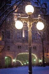 All That Lies Between the Lamp-Post and the Great Castle... (JeffMoreau) Tags: street city light snow canada castle lamp streetlight post quebec le narnia chateau frontenac