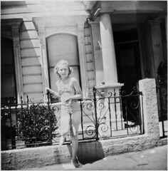 Girl in Swimsuit before Victorian House, 1940s (StevenM_61) Tags: house girl 1940s swimsuit bathingsuit victorianhouse