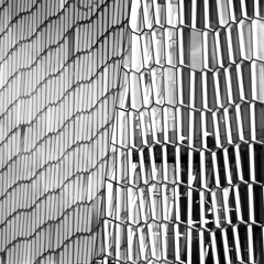 The sharp tap of the baton (Arni J.M.) Tags: windows bw building glass architecture iceland pattern exterior reykjavik diagonal hexagon walls sland harpa harpaconcerthall thesharptapofthebaton
