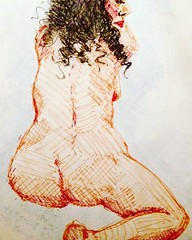 Last weeks forgotten posts.. @carla_tofano at Croydon Life Drawing by @artbarrow (I believe ;)) last session  Http://descART.es  #croydonlifedrawing #croydon #lifedrawing #life #drawing #draw #pen #nudes #exhibitions #local #paint #painting #charcoal #pas