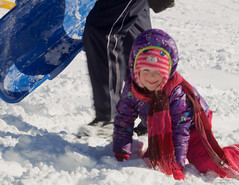 Crawling (leelanau2010) Tags: blue winter red usa white snow kids mi fun parents lucy crazy sister christopher bumpy sledding northwoods