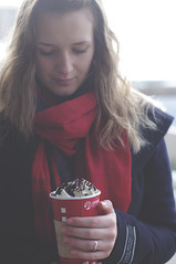 32/365 (Ell@neese) Tags: winter portrait woman hot girl beauty smile drink sweet chocolate cream