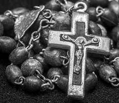Grandpa's Rosary (Zigstermeister) Tags: bw macro necklace beads cross antique crucifix rosary