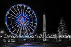 Tout Concorde ! (the_wonderer_wanderer) Tags: paris france monument wheel architecture grande big cityscape place nightscape concorde obelisk tricolor selective roue selectivecolor obelisque louxor