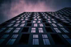 Fire House (Darren LoPrinzi) Tags: city pink blue windows sky urban building lines architecture clouds canon virginia pattern purple patterns perspective lavender architectural lookingup diagonal va 5d canon5d miii diagonals tysonscorner tysonscornerva