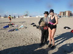 Dr. Takeshi Yamada and Seara (Coney Island Sea Rabbit) at the winter swimming event by the Coney Island Polar Bear Club at the Coney Island Beach in Brooklyn, New York on January 3 (Sun), 2016.  mermaid.  20160103Sun Takeshi Yamada and Sylvia Gudszent, by (searabbits23) Tags: winter ny newyork sexy celebrity art beach fashion animal brooklyn asian coneyisland japanese star yahoo costume tv google king artist dragon god cosplay manhattan wildlife famous gothic goth performance pop taxidermy cnn tuxedo bikini tophat unitednations playboy entertainer samurai genius donaldtrump mermaid amc mardigras salvadordali billclinton hillaryclinton billgates aol vangogh curiosities bing sideshow jeffkoons globalwarming takashimurakami pablopicasso steampunk damienhirst cryptozoology freakshow barackobama polarbearclub seara immortalized takeshiyamada museumofworldwonders roguetaxidermy searabbit ladygaga climategate
