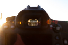 Eye on Manhattan Pier (David Negstad) Tags: california camera sunset pier lensflare manhattanbeach viewfinder