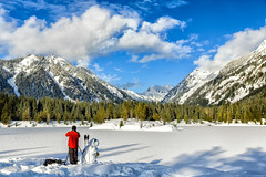 Photography With Friends (KPortin) Tags: sky lake snow mountains clouds landscape snowman photographer snowscape wilbur snoqualmiepass goldpond