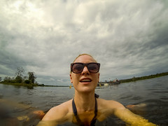 Black Water Swim (MudflapDC) Tags: travel cruise vacation peru water rain clouds swim river amazon melissa jungle pe blackwater loreto excursion pacayasamirianationalreserve delfinii