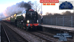 A1 STEAM LOCOMOTIVE TRUST UK RAILTOURS 60163 LNER TORNADO ASHCHURCH FOR TEWKESBURY THE RED ROSE 14022016 (MATT WILLIS VIDEO PRODUCTIONS) Tags: uk red rose for steam trust locomotive a1 tornado tewkesbury the lner railtours ashchurch 60163 14022016