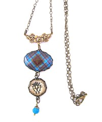 Ancient Romance Series - Scottish Tartans Collection - Anderson Floral Connector Bail with Luckenbooth Charm and Carribbean Blue Swraovski Crystal Bead