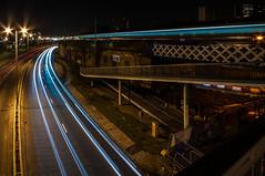 Dennison Photographers meetup (jamie reilly) Tags: longexposure bridge cars night river neon colours riverside glasgow n trains bbc nighttrail nighttrails