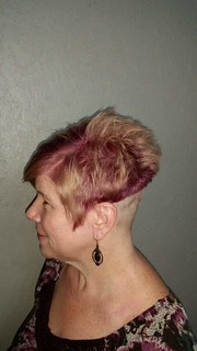 We then put in purple at the roots, and here's the finished results. :)