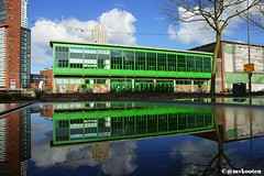 Rotterdam (MichelvanKooten.werkaandemuur.nl) Tags: reflection reflections rotterdam walhalla kantine rdam rotterdamzuid katendrecht