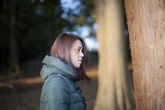 Staring at Tree (jayohaycheen) Tags: park portrait green me nature girl up canon hair asian outdoors 50mm eyes dof open close wide taiwan lynnwood taiwanese lightroom f12 12l 5dc 5dclassic