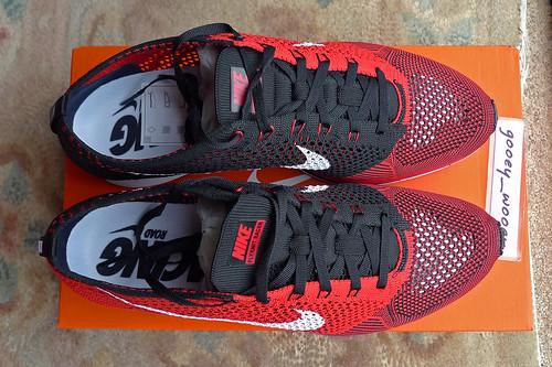 rozmiar 7 świetna jakość dostępność w Wielkiej Brytanii Nike Flyknit Racer 'University Red / White - Black' (526628 ...