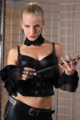 Sandy 25 (The Booted Cat) Tags: woman sexy girl leather model pants crop blonde whip mistress corsage leggins thigt