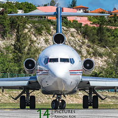 Amerijet 727F (Green 14 Pictures) Tags: classic beach plane airplane airport outdoor aircraft aviation air jet airline boeing airlines maho sxm airfield sintmaarten avgeek amerijet 727f avporn