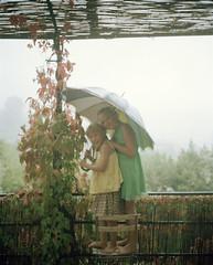 marta stella mallis (Anders Hviid) Tags: stella 120 film rain analog umbrella kodak negative marta mallorca portra 160 plaubel makina 2015 mallis