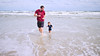 Father and son surf run