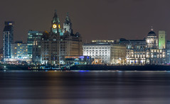 Liverpool Waterfront (SiKenyonImages) Tags: longexposure skyline night liverpool dark cityscape waterfront birkenhead threegraces pierhead rivermersey