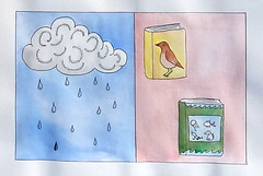 Rain and Books (Fauna Finds Flora) Tags: fiction fish storm bird art rain illustration clouds painting book blog colorful pages drawing shell sketchbook story shortstory picturestory shortfiction faunafindsflora