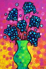 Colorful Flower Bouquet by Sharon Cummings (BuyAbstractArtPaintingsSharonCummings) Tags: pink blue stilllife orange flower floral yellow fun botanical happy colorful neon bright mosaic girly feminine circles mosaics artsy vase whimsical flowervase pinkandorange blueflowers colorfulflowers flowersinavase happyart vibrantflowers funkyflowers sharoncummings