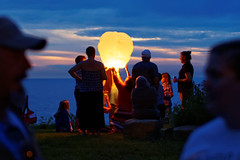 Sky Lantern (hjharland5) Tags: blue ohio sky lake rising evening cloudy outdoor cleveland lantern skylantern