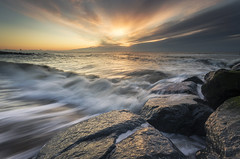 Southwold Surge (scott.hammond34) Tags: uk sea seascape clouds sunrise landscape suffolk rocks waves outdoor southwold goldenhour hightide ef1740f4lusm leefilters