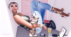 337 . Sunday (K e z m e i :; www.UglyBetti.Tumblr.com) Tags: hair puppy little top ripped parks camo sl jeans crop bones heels blackheart tee faze evani