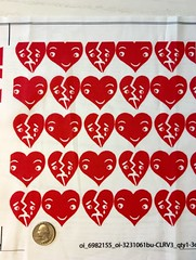 Block print Hearts Red, small scale, 8x8 inch test swatch on basic cotton ultra. (sassyone2013) Tags: wallpaper cute love hearts heart sewing crafts lovers fabric kawaii quilting crafting valentinesday whimsical fabricyardage spoonflowerindiefabricdesigns