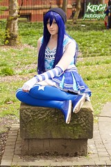 IMG_8897 (Neil Keogh Photography) Tags: blue red white anime hat yellow stars dress cosplay stripes manga skirt gloves wig videogame vest cosplayer cheerleader miniskirt bows stripy frilly frills pleatedskirt kneelengthsocks lovelive umisonoda nwcosplayeastermeet2016