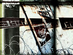 (+music) these city walls (CatnessGrace) Tags: city urban signs texture abandoned lightandshadows wire rust triptych shadows artistic decay urbandecay dramatic barbedwire cocacola melancholy cinematic decaying backstreets abandonedbuildings artisticphotography triptychs beautifuldecay abandonedstructures