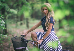DSC05441 (Pavel Valchev) Tags: wood trees portrait woman fashion bicycle lady sony cycle portraiture mf casual charming 85 walimex beatiful slt a57 rokinon